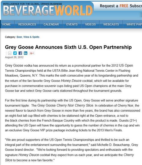 Beverage world us open grey goose cv