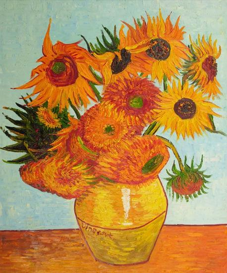 Home decoration van gogh sunflower free shipping hand painted canvas oil paintings quality guarantee retail and cv