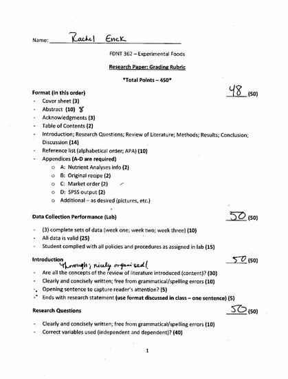 Experimental foods research paper evaluation cv