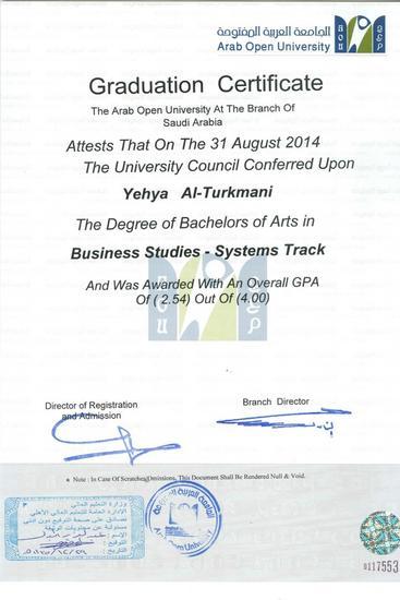 Bachelor certificate cv
