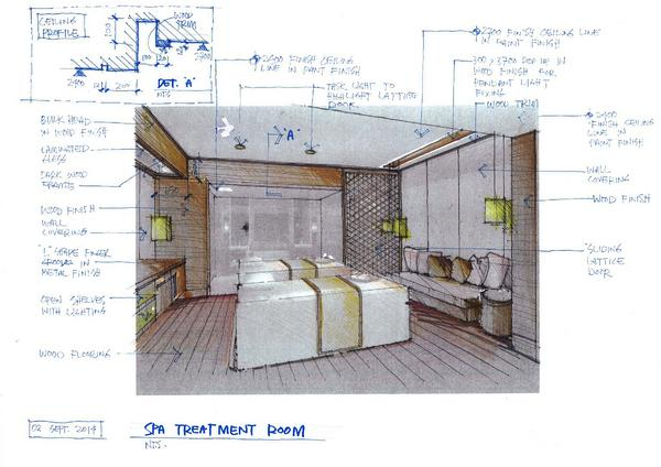 Spa treatment room detail cv