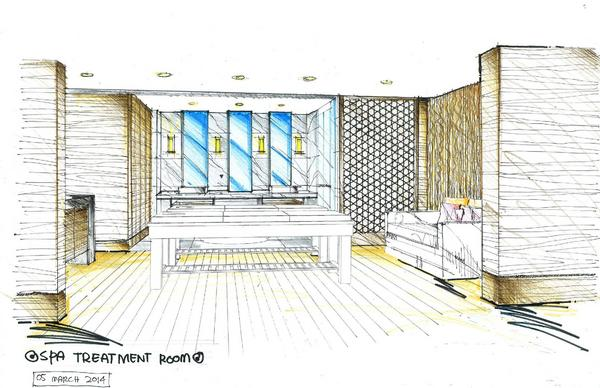 Spa treatment room sketch cv