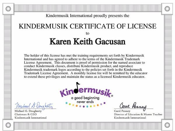 Kindermusikcertificate cv