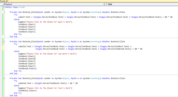 One of example coding of mark calculation cv