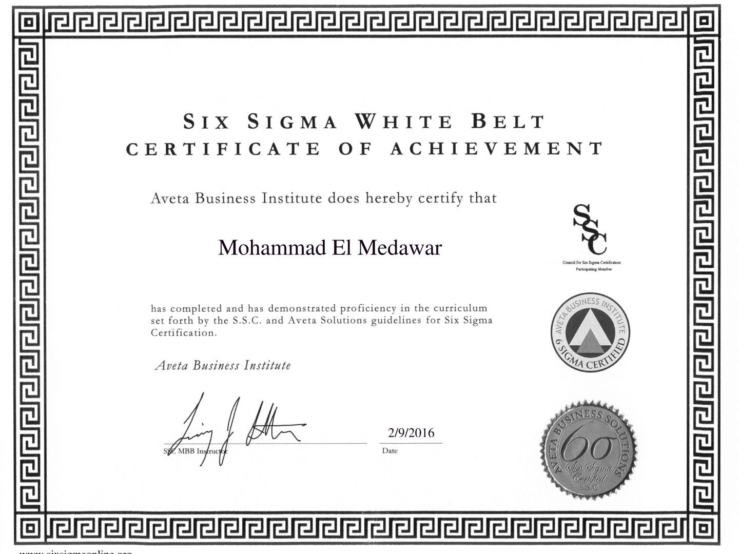 Mohammad el medawar training professional consultant visualcv six sigma white belt certified xflitez Gallery