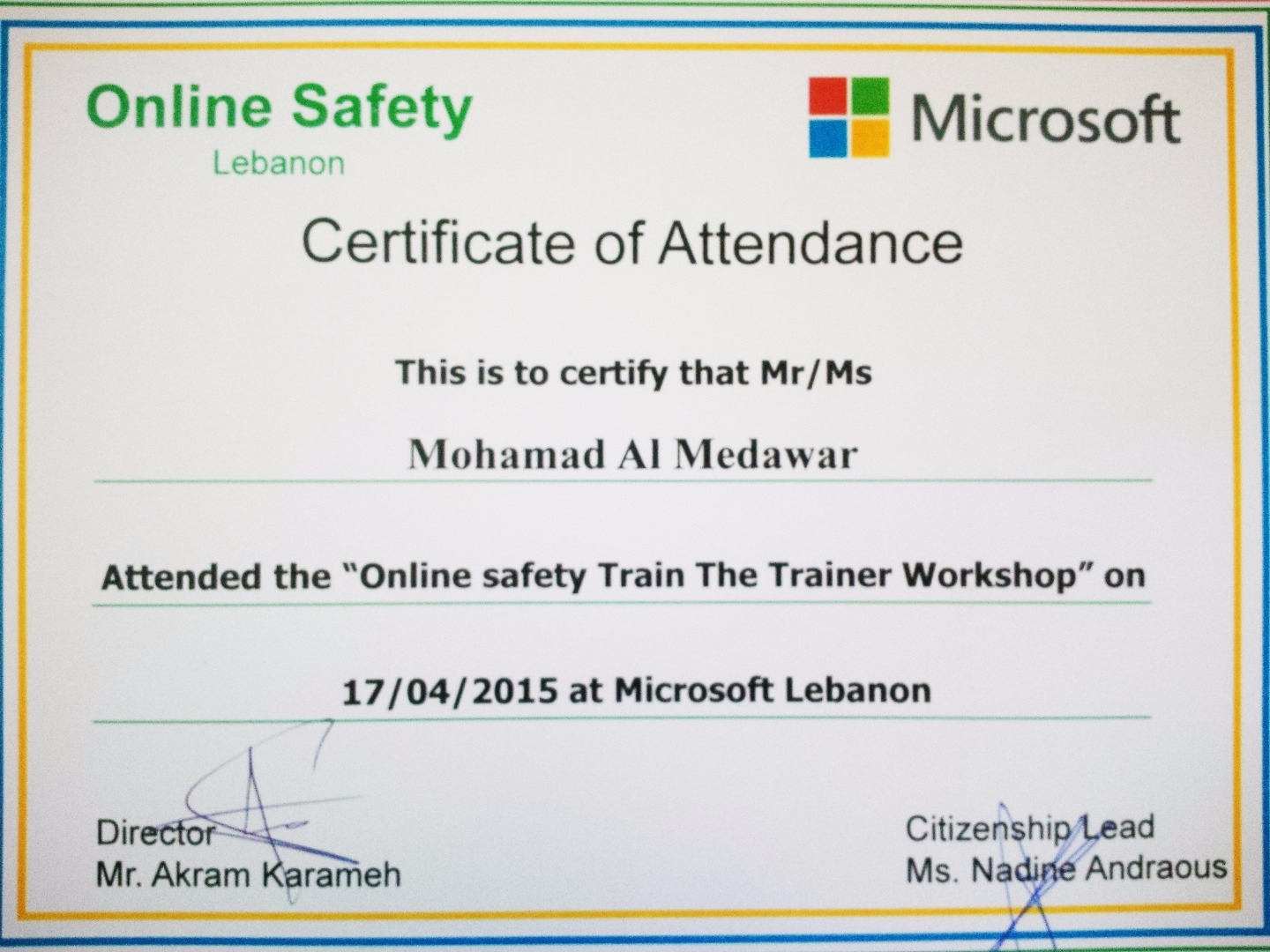 Mohammad el medawar training professional consultant visualcv train the trainer online safety xflitez Images
