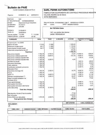 Dernier bulletin de paye  p 1 . cv