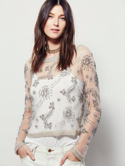 Free people clear skies embellished top cv
