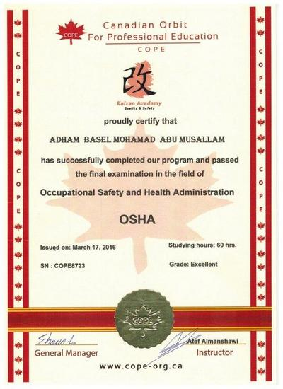 Mr adhan  certificate of osha safety  17 03 16 cv