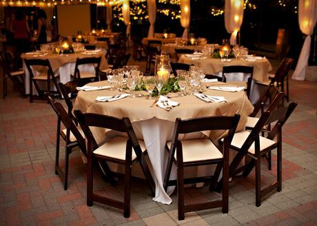 Wedding table dark wood chairs cv