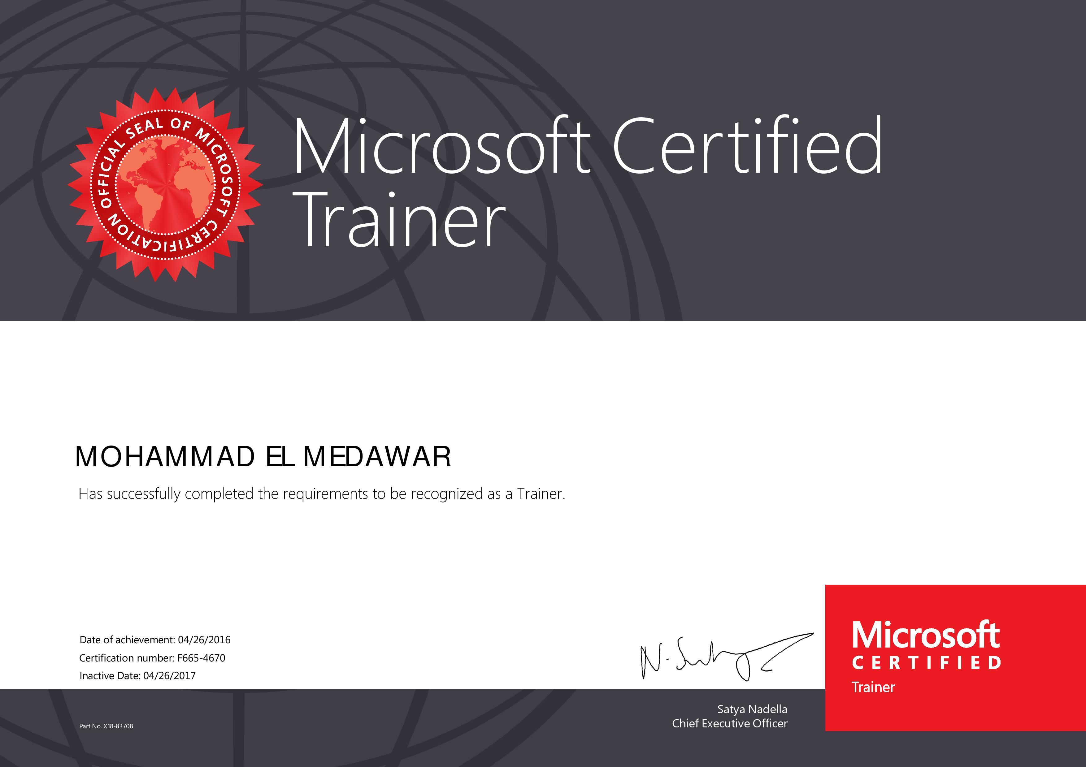 Mohammad el medawar training professional consultant visualcv degrees certificates microsoft certified trainer xflitez Gallery