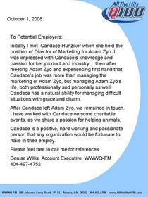 Reference letter from d. willis cv