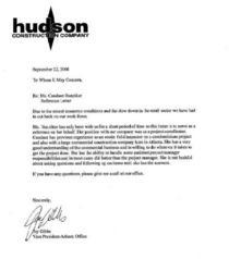 Reference letter from j. gibbs hudson cv
