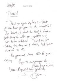 Letter from dave koz cv