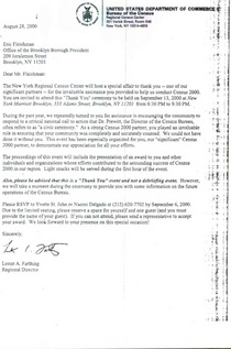 Census 2000 recognition letter from regional director lester a. farthing 8.28.2000 cv