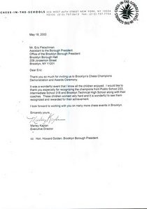 Brooklyn chess champions demonstration and awards ceremony recognition letter 5.18.2000 cv