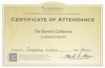 Certofattendance  womans conference cv