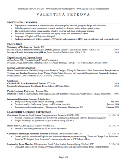 A brief professional resume in PDF format.