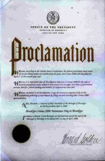 Brooklyn census awareness day in brooklyn proclamation circa 2000 brooklyn borough president s office cv