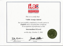 Ilac english certification. cv