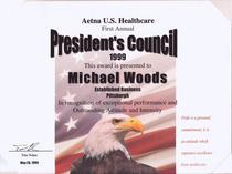 Presidents council award 1999 cv
