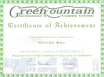 Gmtcc certificate of achievement for accounting 1 at ccv 3 credits cv