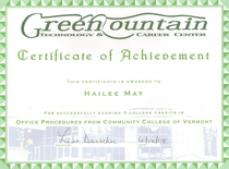 Gmtcc certificate of achievement for office procedures at ccv 3 credits cv