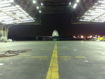 Pa 747 coming into hangar 19 at jfk cv