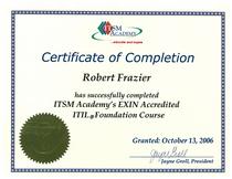 Itil foundation cert 13 oct 2006 cv