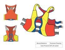 Solar powered gps life jacket cv