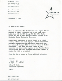 Letter of recommendation starkey cv