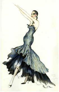 Black lace navy silk taffetta gown cv