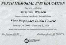 First reponder certificate cv