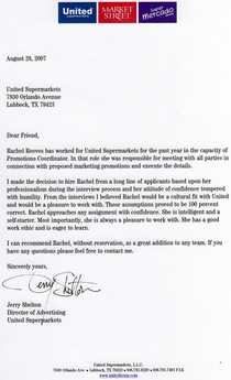 United letter of recommendation cv