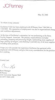 Reference letter jc penney cv