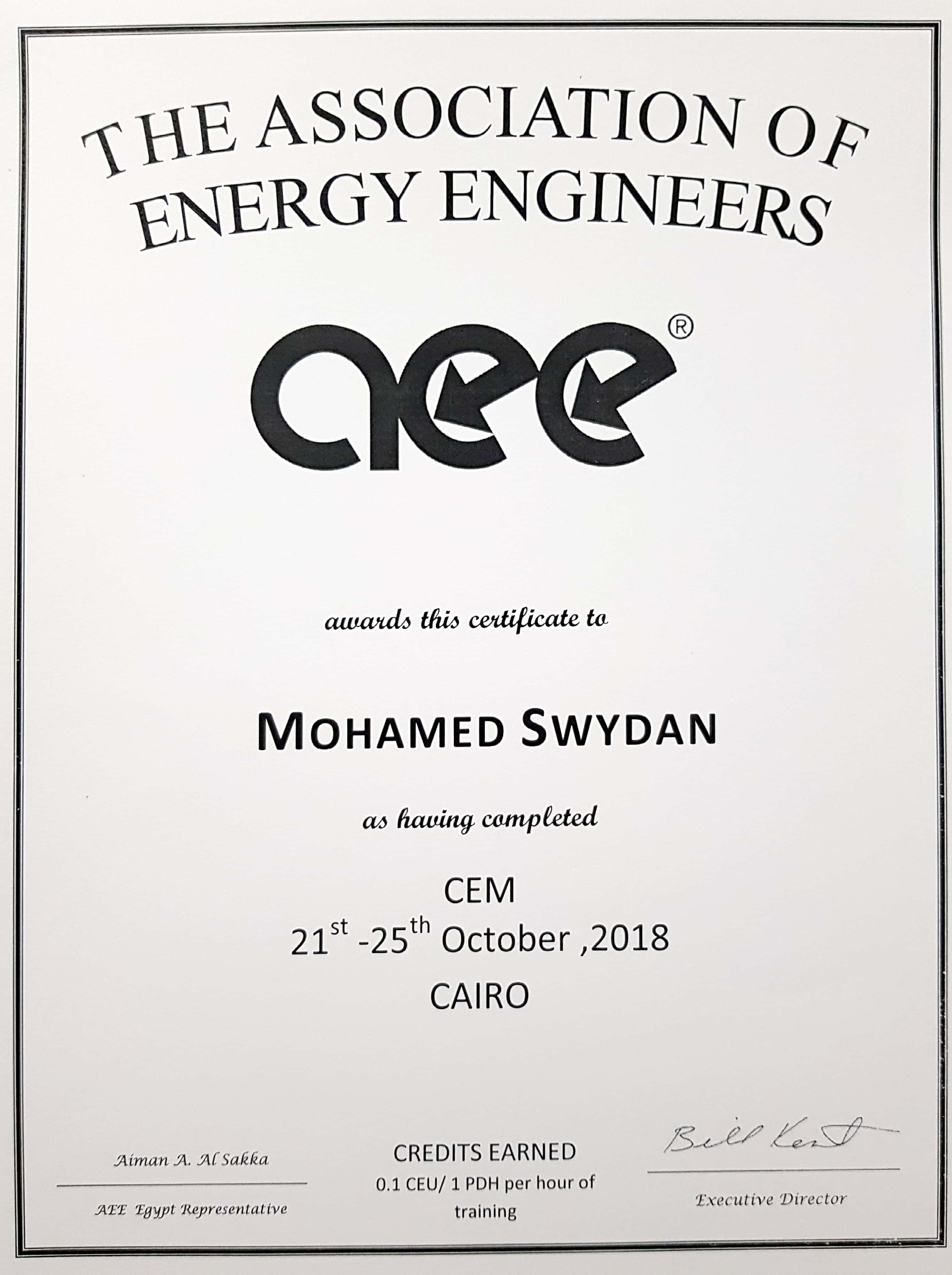 cem course certificate prmg mohamed manager energy pmp certified professional management