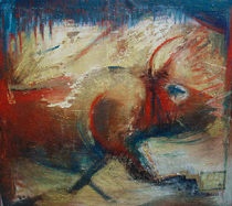 Osborn dorothea bull oil and mixed media 6 x6  cv