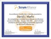 David j. marks scrumalliance csm certificate cv