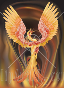 11290 majestic phoenix firebird stretching its wings over a fiery background clipart illustration cv