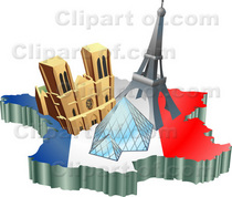 12382 tourist attractions of notre dame de paris cathedral eiffel tower and the louvre pyramid over a map and french flag cv