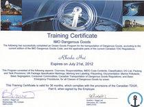 Imo dangerous goods certificate cv