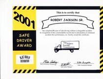 Safe driver award 2001 robert jackson  cv