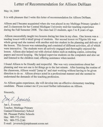 Letter of rec cv