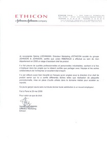 Lettre ethicon johnson johnson cv