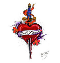 Heart with dagger tatto symbol cv