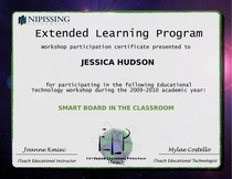 Smart board in the classroom certificate cv