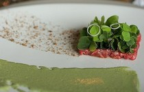 Toro tartare watercress salmon skin powder edamame puree cv
