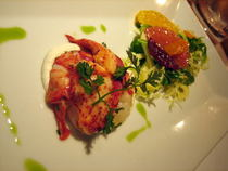 Butter poached lobster truffle cream of wheat caramelized citrus salad cv