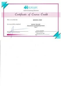 Bank teller certificate cv