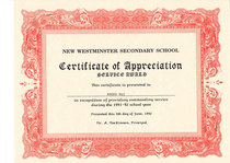 Certificate of appreciation cv